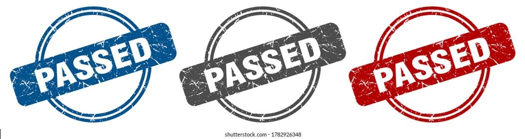 passed stamp. passed sign set