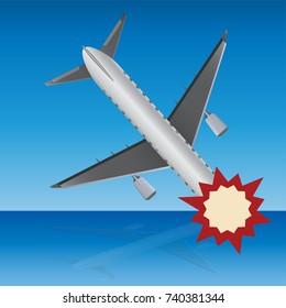 Passenger air plane crash with nature background vector illustration