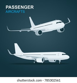 Passenger Aircraft.  Airplane in profile and side view.  Isolated vector illustration.