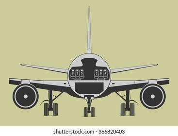 Passenger aircraft. Scheme. Vector illustration