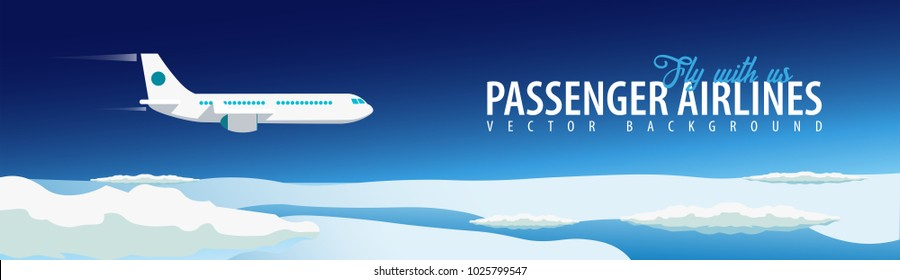 Passenger Airlines. Clouds sky background with airplane. Vector illustration
