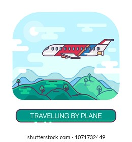 Passenger airplane or airbus, plane flying in sky above mountains, jet aircraft of tourism or jaunt airlines. Travel and vacation, flight and aviation, deliver vehicle,transportation and journey theme