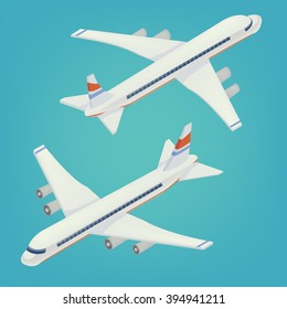 Passenger Airplane Airliner. Isometric Concept. Transportation Mode. Aircraft Vehicle. Vector flat 3d illustration