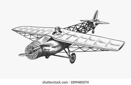 Passenger airplane corncob or plane aviation travel illustration. Engraved hand drawn in old sketch style, vintage transport.