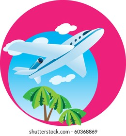 A passenger airplane flying through the sky. Vector Illustration.