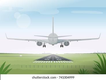 Passenger airplane landing. Summer airport view. Vector illustration.