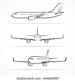 Passenger airplane silhouettes, contours, outlines. Side, front, 3/4 view of modern jet aircraft in flight. Vector illustration