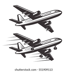 Passenger airplane two style design elements vector monochrome illustration isolated on white background
