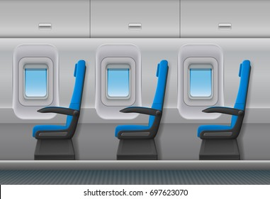 Passenger airplane vector interior. Aircraft indoor cabin with portholes and chairs seats. Vector illustration.
