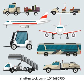 Passenger airport ground technics set. Tow truck, fright forklift, passenger ladder, modern bus, baggage cart, fuel tanker vector illustration. Aviation terminal logistics and infrastructure elements.