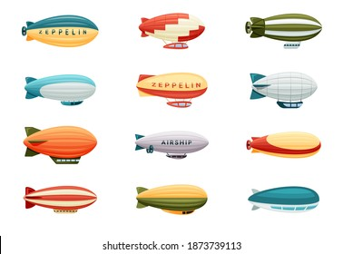 Passenger airships set. Bright colored cigar shaped balloons retro zeppelin with stripes cabins for people elongated huge balloons with helium for free travel tourism. Vector cartoon art