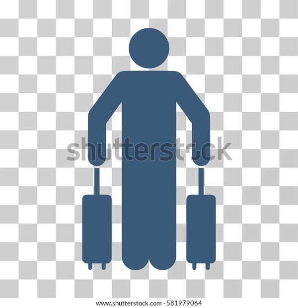 Passenger Baggage vector pictogram. Illustration style is a flat iconic blue symbol on a transparent background.