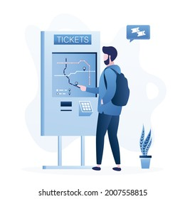 Passenger buys bus or metro ticket through terminal. Male character uses ticket machine. Self-service travel pass technology. Route selection, fare payment on device screen. Flat vector illustration