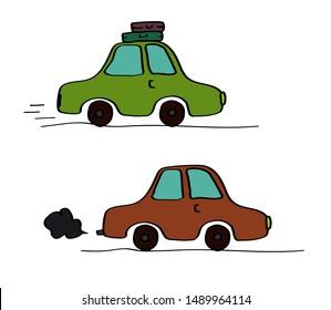 Passenger car on a white background. Journey. Vector illustration.