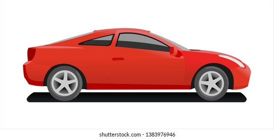 Passenger car, side view. Fast car. Modern flat vector illustration isolated on white background.