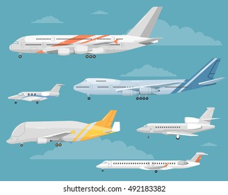 Passenger and cargo airplane isolated vector illustration. Airplane side view illustration. Modern types of airplane. Set of aircraft icon.