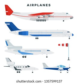 Passenger and cargo airplane, set. Airplanes, side view. Modern types of planes. Large and small passenger aircraft. Air transport. Vector illustration in flat style.