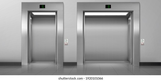 Passenger and cargo elevators with open doors in hallway. Vector realistic empty modern interior with lifts, metal panel with buttons and floor display on wall in hall of hotel, office or house
