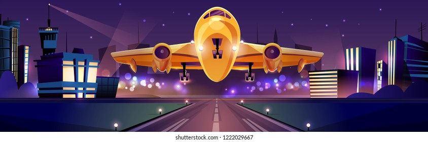 Passenger or cargo plane taking off or landing on runaway at night time, city lights on background cartoon vector illustration. Traveling by airlines, night flight from modern aerodrome. Air transport