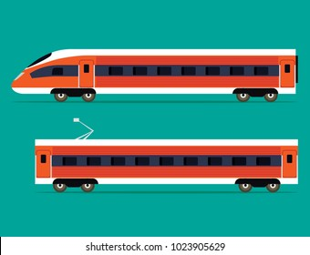 Passenger express train isolated. Vector flat style illustration