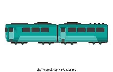 Passenger express train. Railway carriage. Cartoon subway or high speed train. Vector icon for web design or game scene