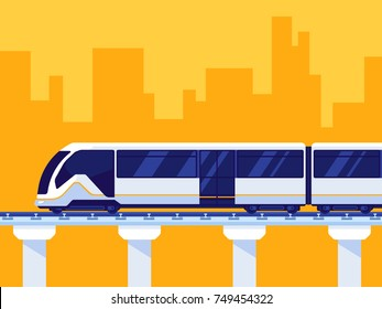 Passenger express train. Subway transport underground train. Metro train vector illustration