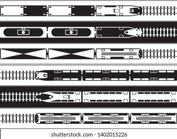 Passenger and freight railway transportation from above - vector illustration