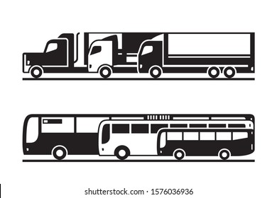 Passenger and freight transportation on the road - veector illustration
