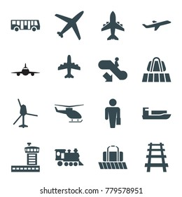 Passenger icons. set of 16 editable filled passenger icons such as luggage belt, airport bus, escalator down, plane, ship, man with case, locomotive, railway, helicopter