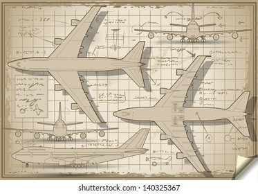 passenger jet airplane project diagram engine orthographic views  isometric  aviation airplane passenger 3d isolated illustration