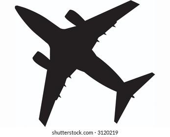 passenger jet flying overhead.  fully editable vector.