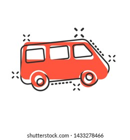 Passenger minivan sign icon in comic style. Car bus vector cartoon illustration on white isolated background. Delivery truck banner business concept splash effect.