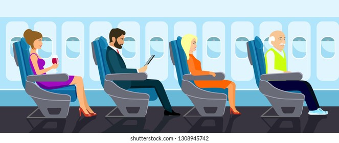 Passenger old man, young beautiful girls and businessman character sitting in chair on the plane . Vector flat style illustration.