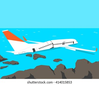 A passenger plane crashed on the beach. Vector illustration
