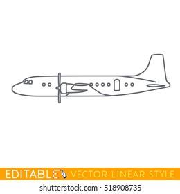 Passenger plane fifties icon. Editable outline sketch. Stock vector illustration.
