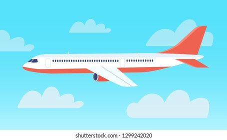 Passenger plane flying in the sky. Vector flat style ilustration