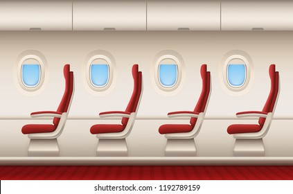 Passenger plane interior. Aircraft cabin with white closeup windows portholes plane inside comfort chairs vector realistic background. Illustration of airplane interior, plane transport