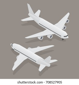 Passenger plane in isometric view. White flat airplane. 3D object for games and infographics. Vector illustration. Aircraft for travel and tourism.