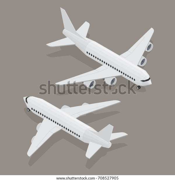 Passenger Plane Isometric View White Flat Stock Vector (Royalty Free