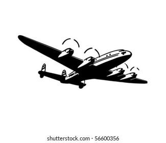 Passenger Plane - Retro Clip Art