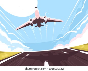 Passenger plane takes off from runway. Air transport, vector illustration