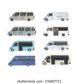 Passenger Public transport. Shuttle buses for use in the city and tourism. Vector detailed illustration for presentations and print on a white background.