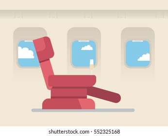 The passenger seat in airplane business class. Champagne on the site of the chair.