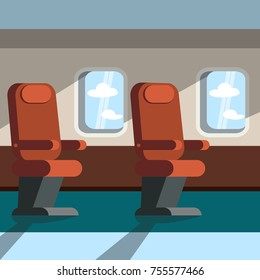 Passenger seats in the cabin of the plane. Vector illustration.