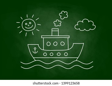 Passenger ship drawing on blackboard