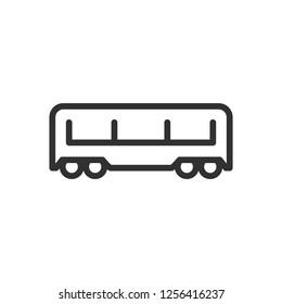 passenger train car. linear icon. Line with editable stroke