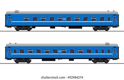 Passenger train cars. Railway carriage. vector