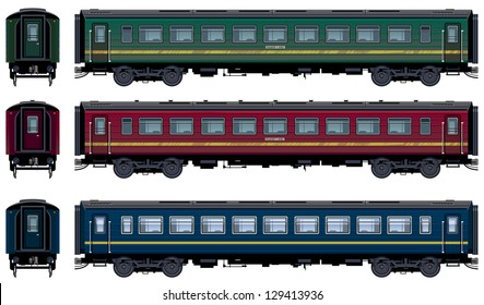 Passenger train cars in vector (Train #21). Pixel optimized. Elements are in the separate layers. In the side, back and front views. The appropriate locomotive is also available (Image ID: 129413933 )