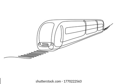 Passenger train in continuous line art drawing style. Traveling by train minimalist black linear sketch isolated on white background. Vector illustration