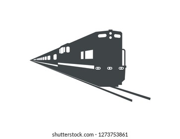 passenger train with long hood locomotive silhouette, perspective view